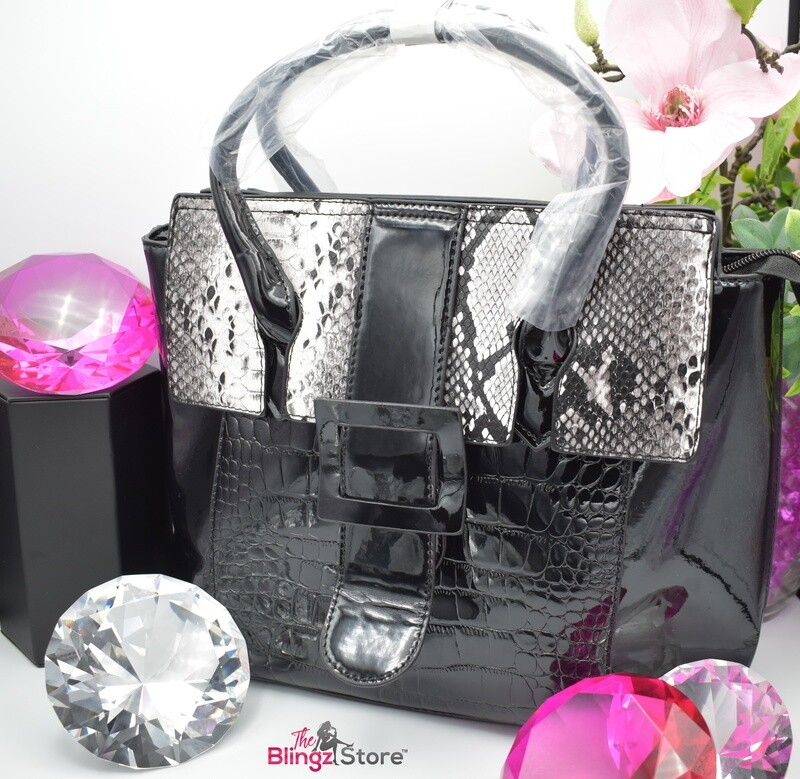Snakeskin Purse - Black