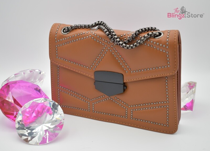 Leather pillbox style purse - Brown