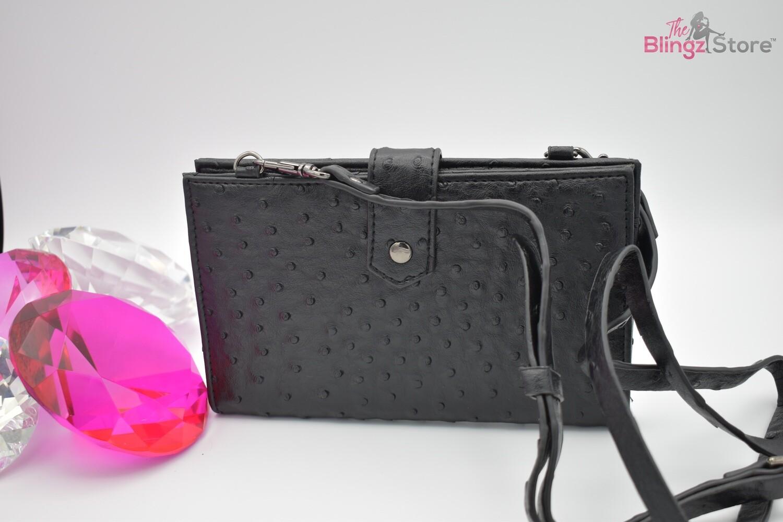 Ostrich Leather Crossbody - Black