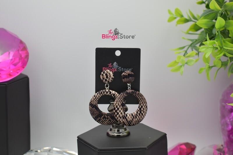 Snakeskin Hoops - Brown