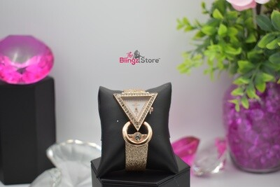 Rhinestone Rimmed Triangle - Gold