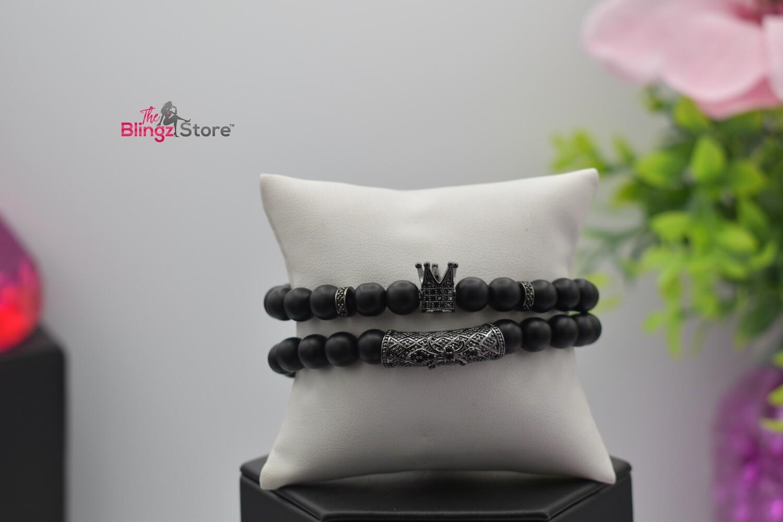 Pave Hexagon Stretchy Bracelet Set