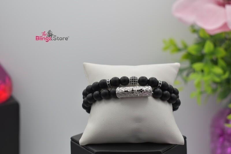 Pave Hexagon Stretch Bracelet Set - Black