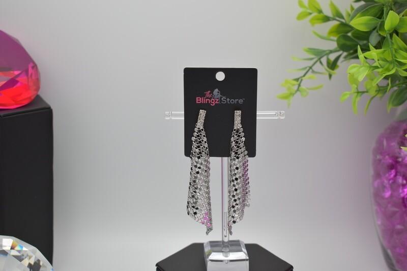 Rhinestone Sequin Earrings - Silver