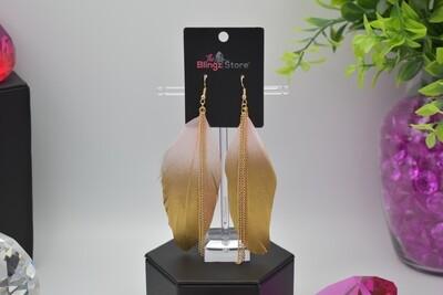 Bohemian Chain Tassel Feather Earrings - Pink