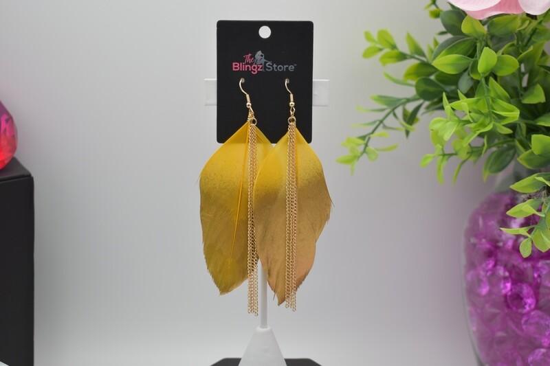 Bohemian Chain Tassel Feather Earrings - Yellow