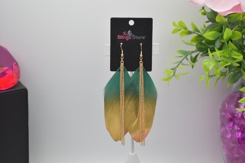 Bohemian Chain Tassel Feather Earrings - Green