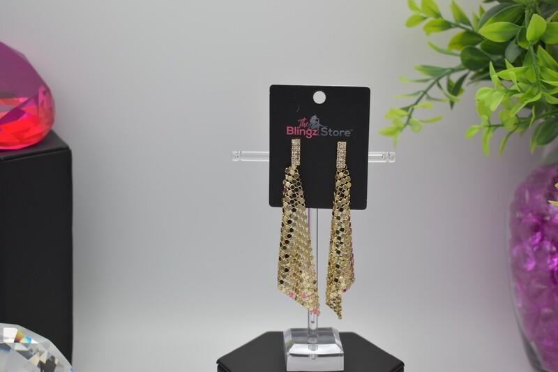 Rhinestone Sequin Earrings - Gold