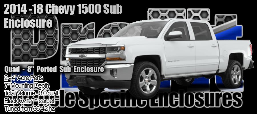 """2014-18 Chevy Silverado 1500 Crew Cab Quad 8"""" Ported Subwoofer Enclosure"""