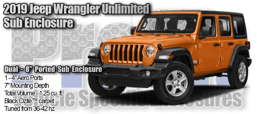 "2018/up Jeep Wrangler Unlimited Dual 8"" Ported Subwoofer Enclosure"