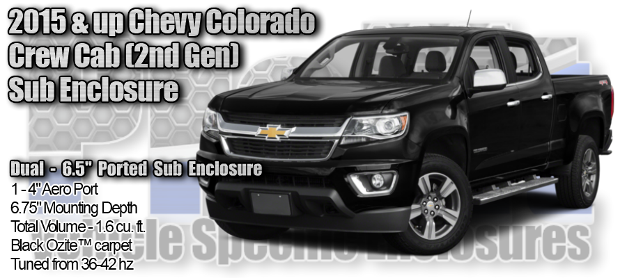 "2015/up Chevy Colorado Crew Cab (2nd Gen.) Dual 6.5"" Ported ProFit Subwoofer Enclosure"