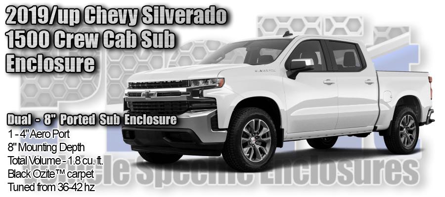 "2019/up Chevy Silverado 1500 Crew Cab Dual 8"" Ported ProFit Subwoofer Enclosure"