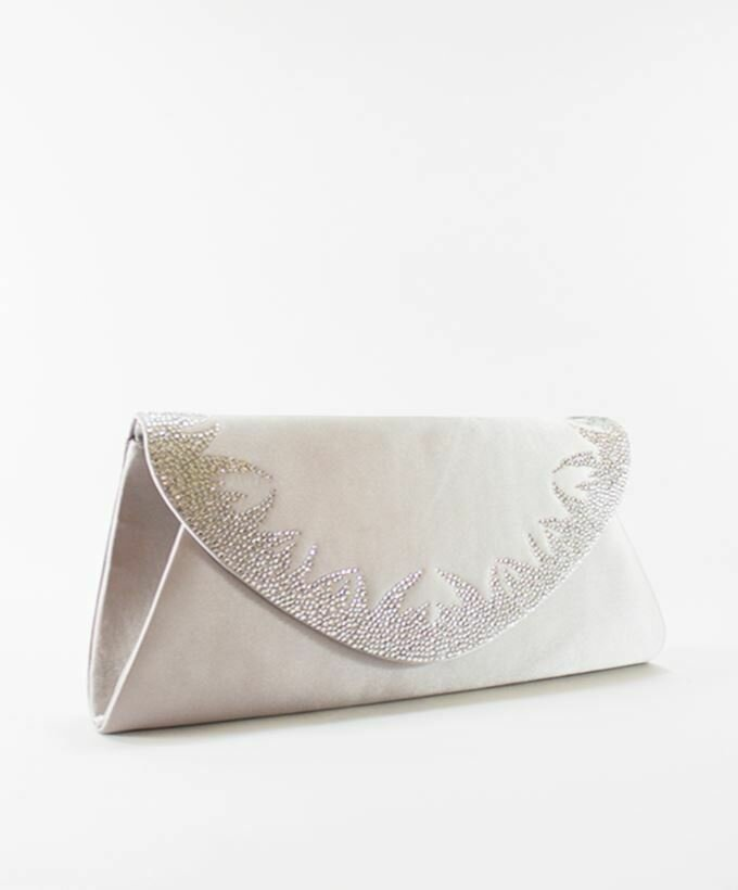 4039 Satin Clutch Bag - Silver