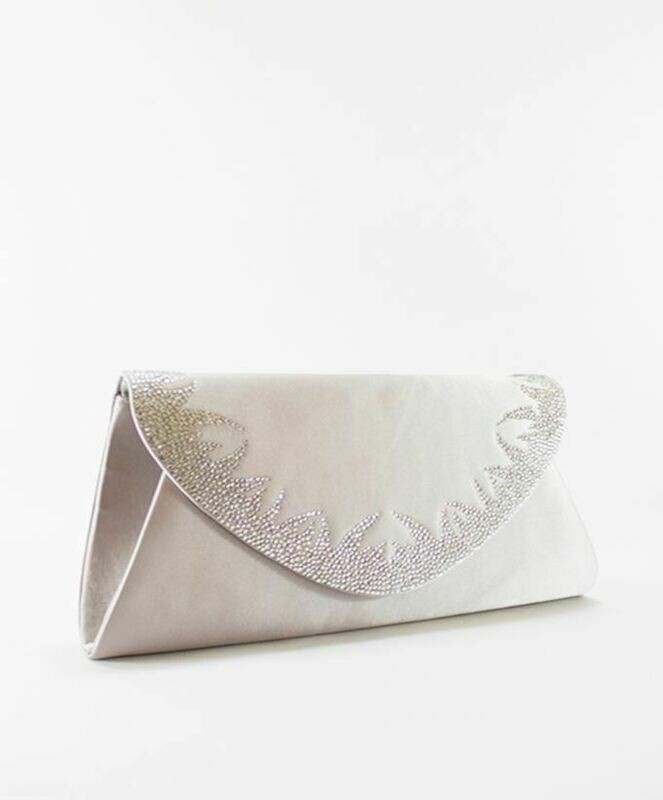 4039 Satin Clutch Bag - Silver
