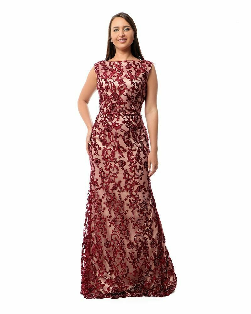 8409  Soiree Dress -Burgundy