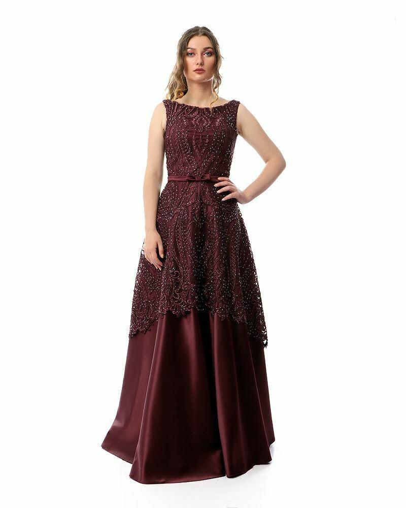8430Soiree Dress -  Burgundy