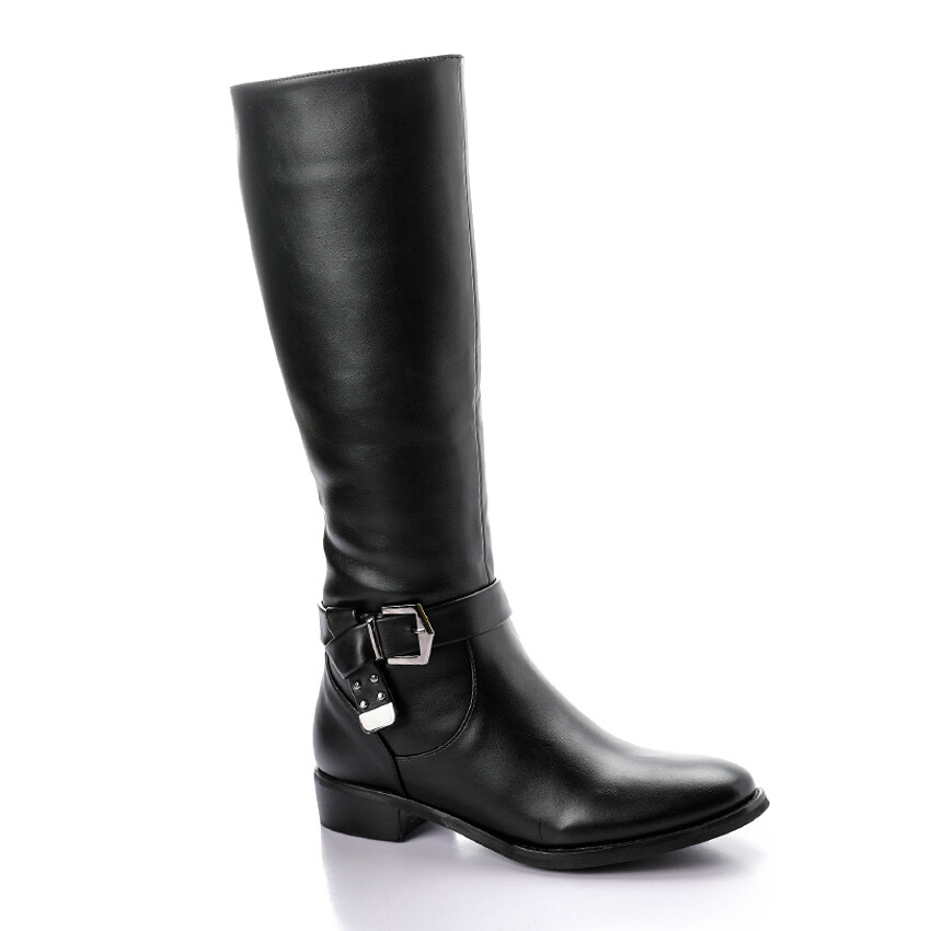 3323 - Plain High Boots -  Black