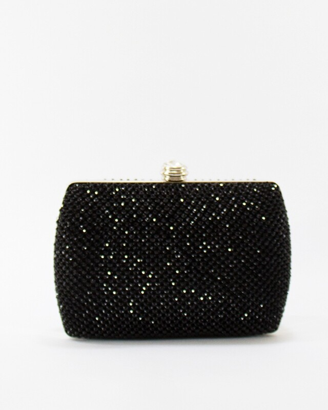 4042 Satin Clutch Bag Black