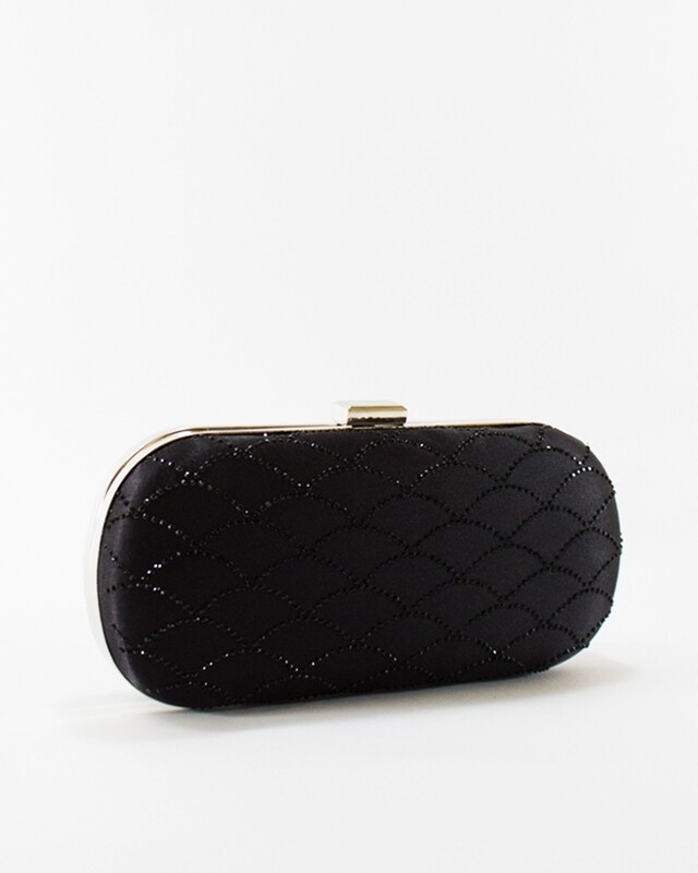4046 Satin Clutch Bag - Black