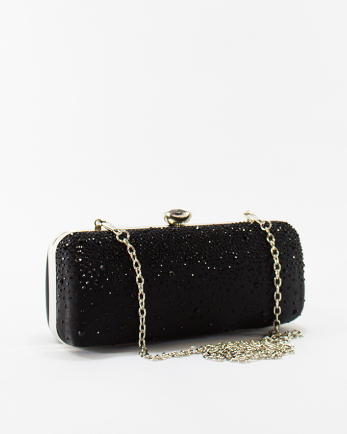 4048 Satin Clutch Bag - Black