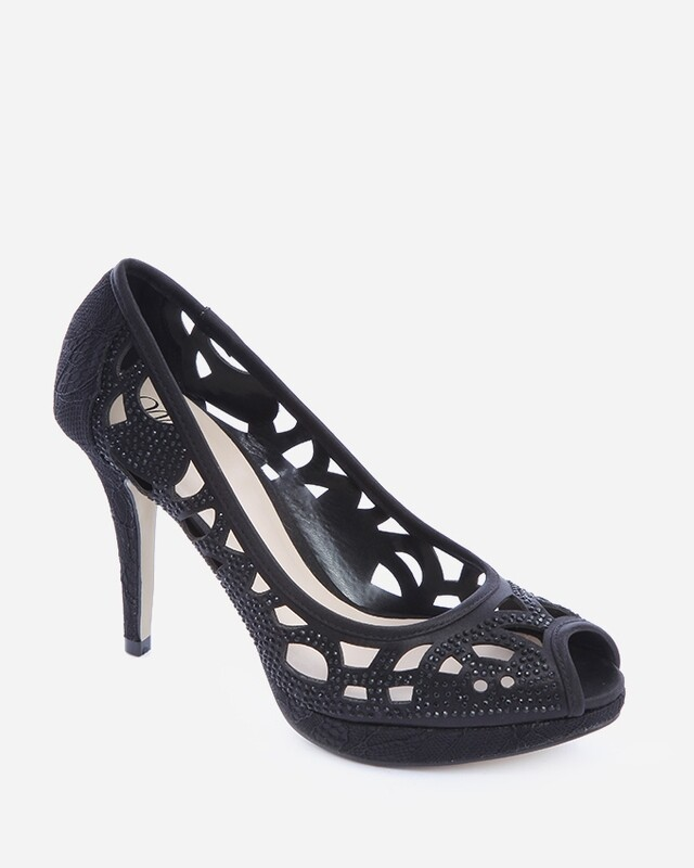 3592 Cutout Peep Toe - Black