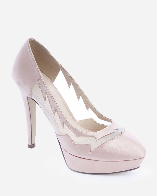 3598 Heeled satin Pumps - Champagne