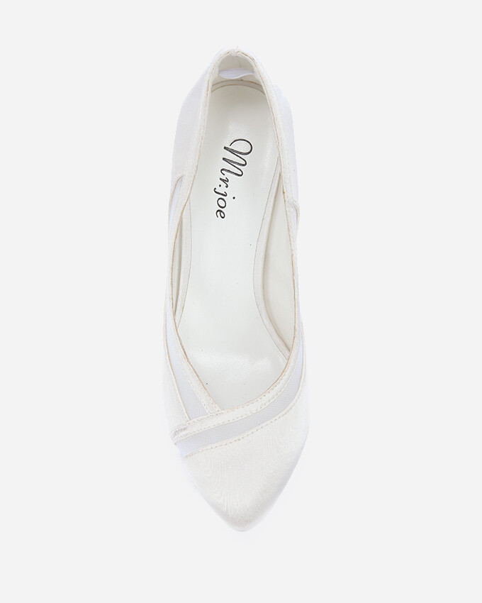 3699 Wedding Satin Heeled - White