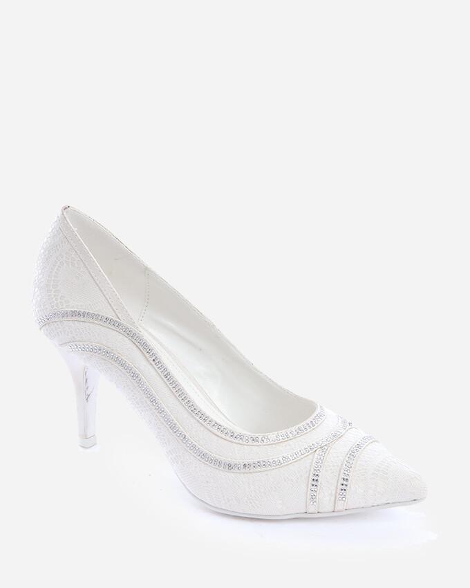 3700 Wedding Satin Heeled - White