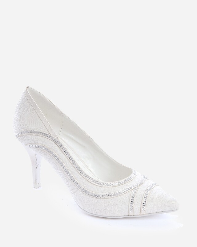 3700 Wedding Satin Heeled - White