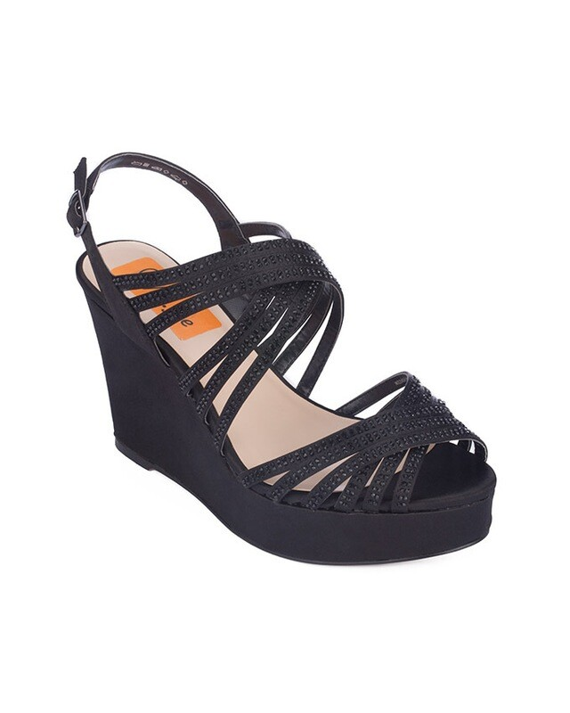3713 Sandal Heeled  - Black