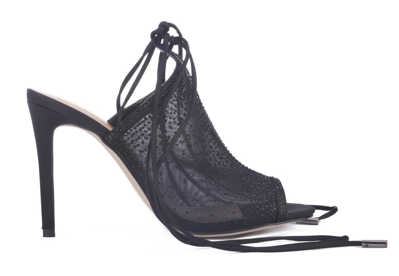 3718 Open Toe Heeled  - Black
