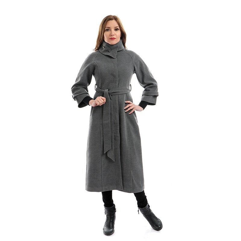 8207 Coat - Gry Plain Long