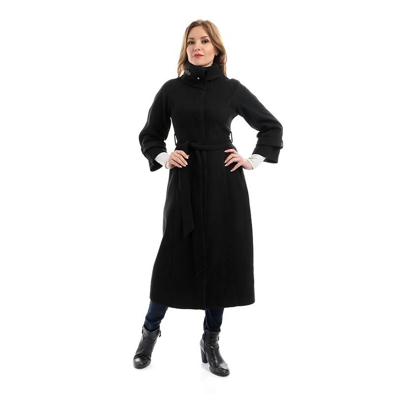 8207- Coat - Black Plain Long
