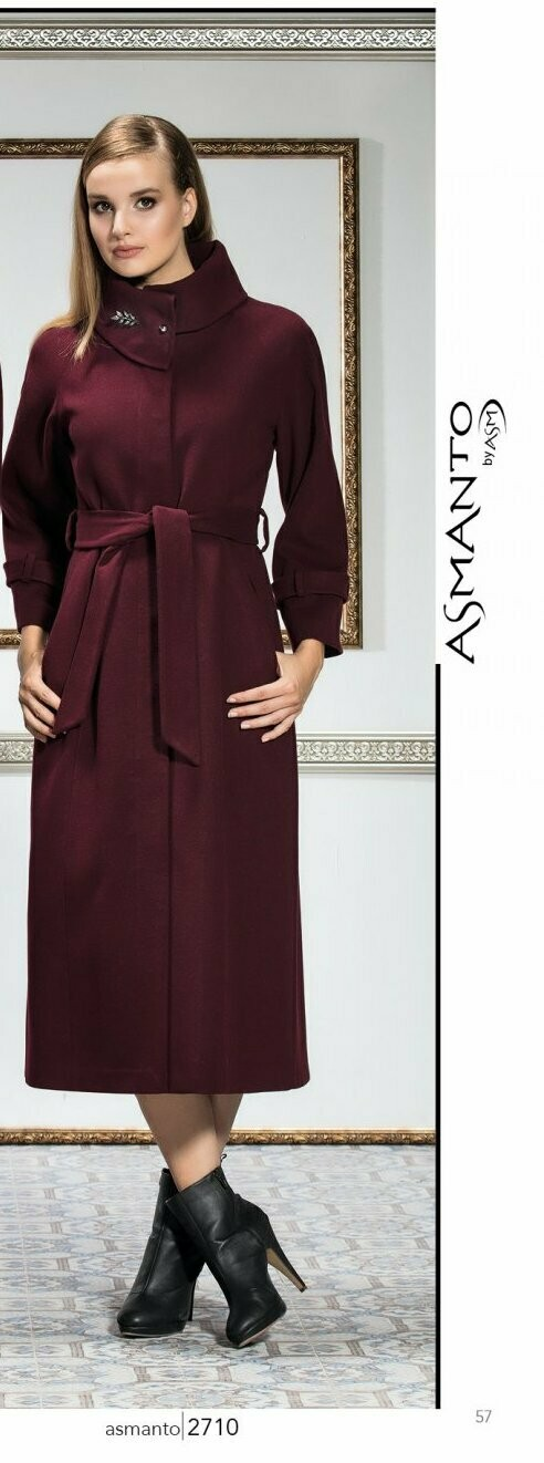 8207 Coat -Burgundy  Plain Long