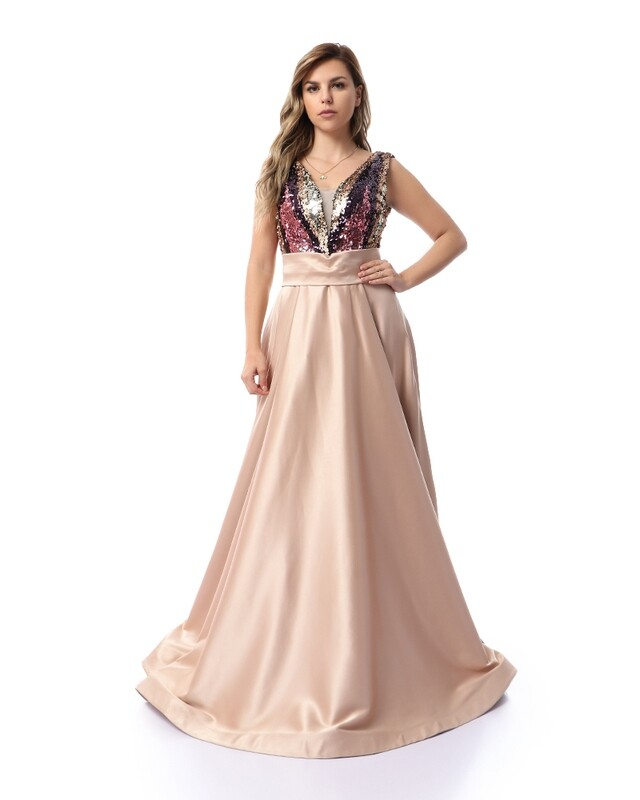 8465 Soiree Dress - Champagn