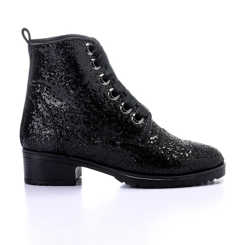 3429 Half Boot - Black Glitter