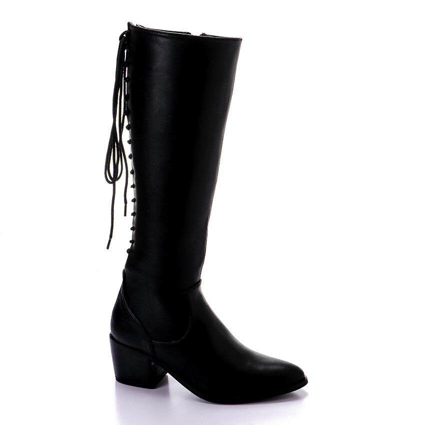 3423- Leather Boot - Black