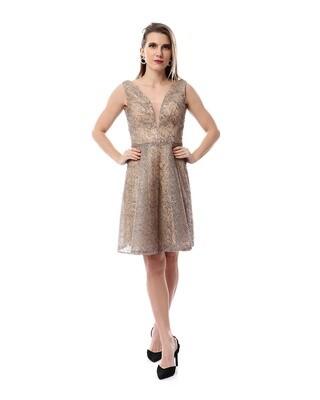 8484 Soiree Dress - Cafe