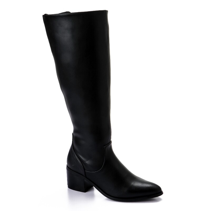 3433- Leather Boot - Black