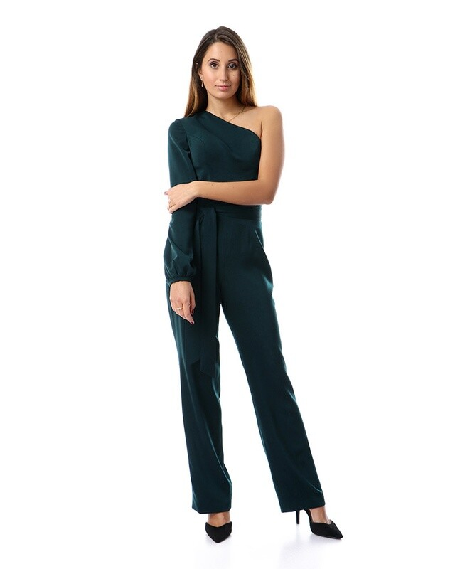 8497 Soiree Jump Suit-  Dark Green