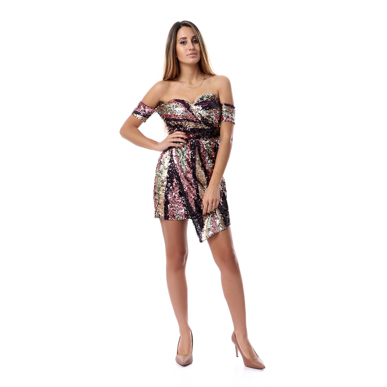 8495 Soiree Dress - Gold * Purple