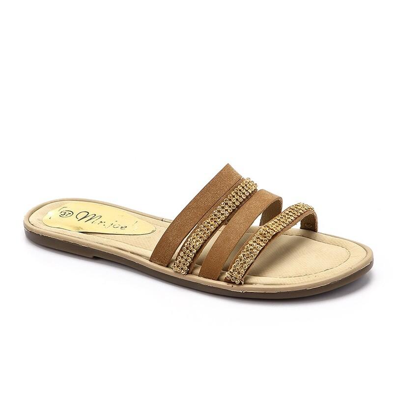 3255  Slipper - Beige *Gold