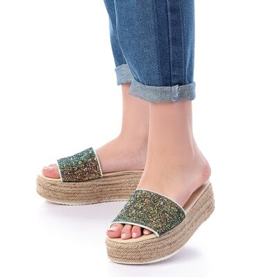 3396 Slipper Green *Black Glitter