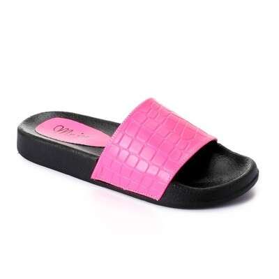3438 Slipper - fushia crocodile