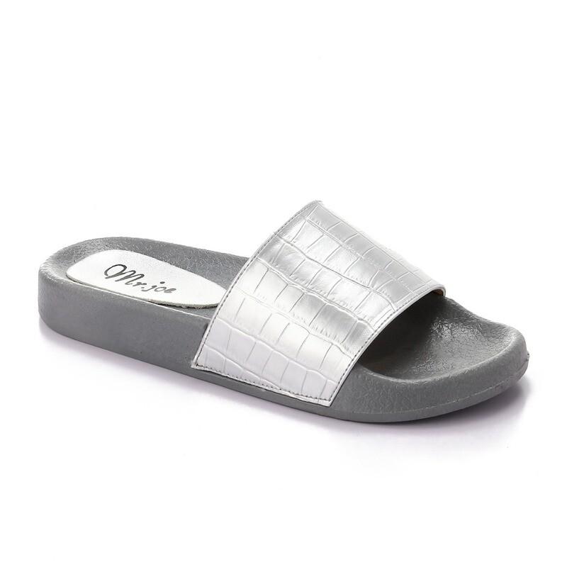 3438 Slipper - silver crocodile