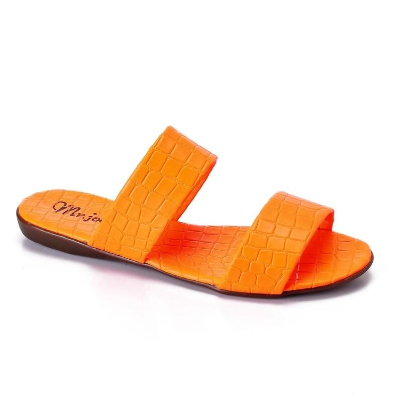 3470 Slipper  orange Crocodile