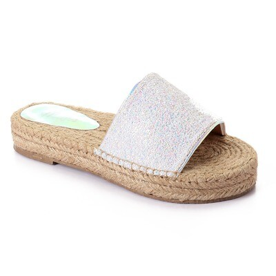 3441 Slipper - White Glitter