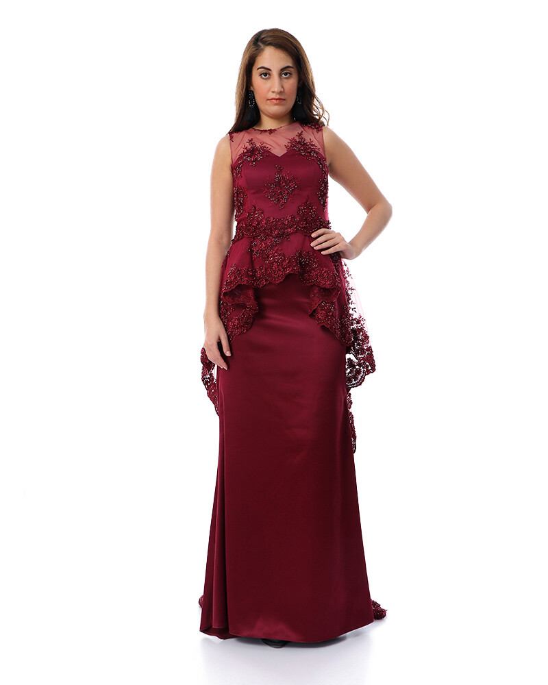 8475 Soiree Dress - Burgundy