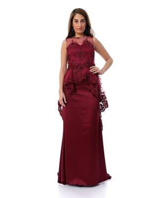8475 Soiree Dress - Burgundy