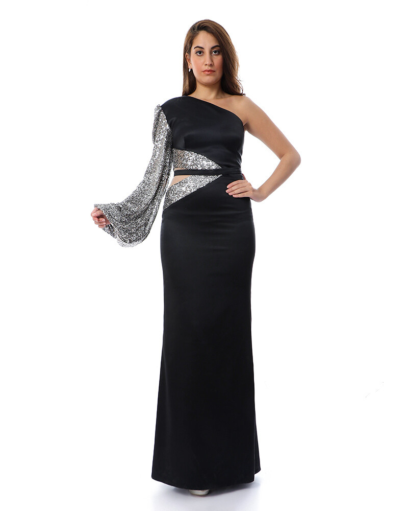 8467 Soiree Dress - Black- silver